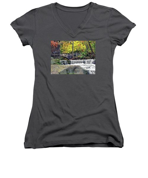 Waterfall At Olmsted Falls - 1 Women's V-Neck