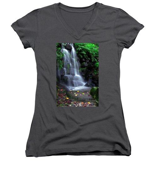 Waterfall Women's V-Neck T-Shirt (Junior Cut) by Carlos Caetano
