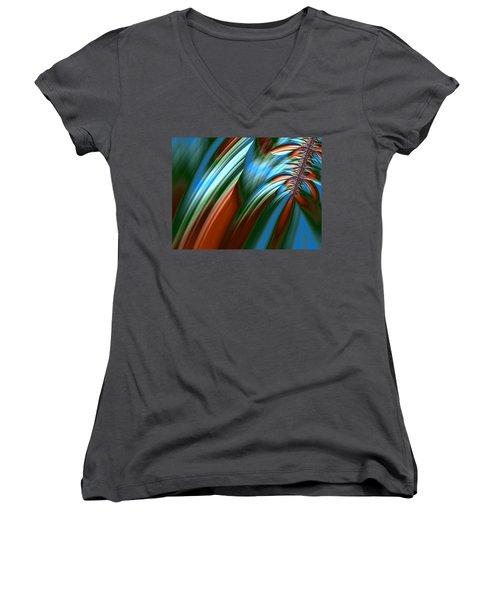 Women's V-Neck T-Shirt (Junior Cut) featuring the digital art Waterfall Fractal by Bonnie Bruno