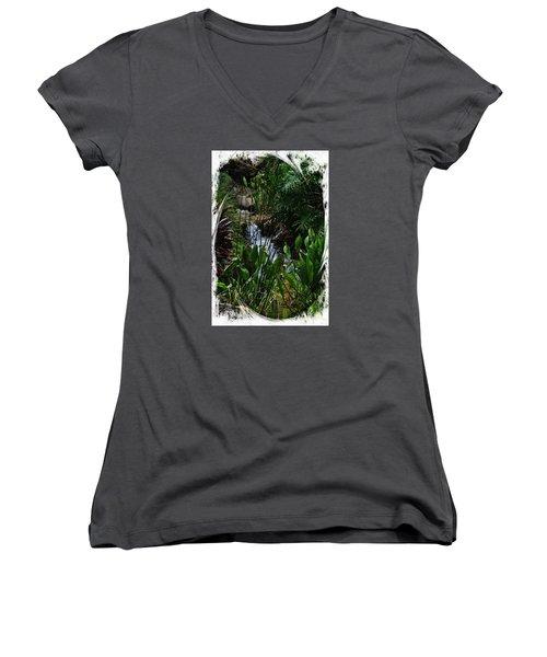 Waterfall Garden Swirl 2 Women's V-Neck T-Shirt