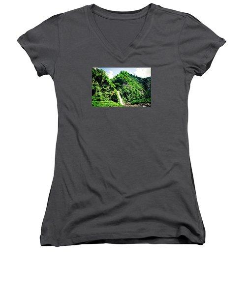 waterfall Himalayas mountains NEPAL Women's V-Neck