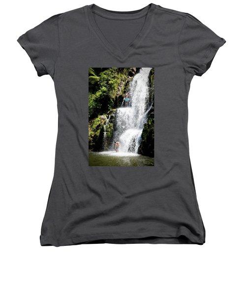 Waterfall In New Zealand Women's V-Neck