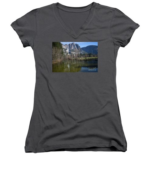 Waterfall Reflection Color Women's V-Neck T-Shirt
