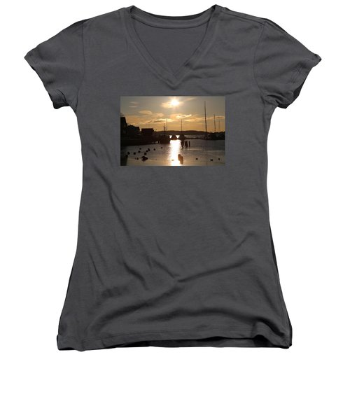 Waterfront, Oslo Fjords, Norway.  Women's V-Neck (Athletic Fit)