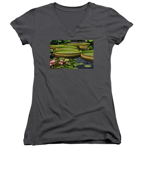 Women's V-Neck featuring the photograph Waterlilies North And South by Byron Varvarigos