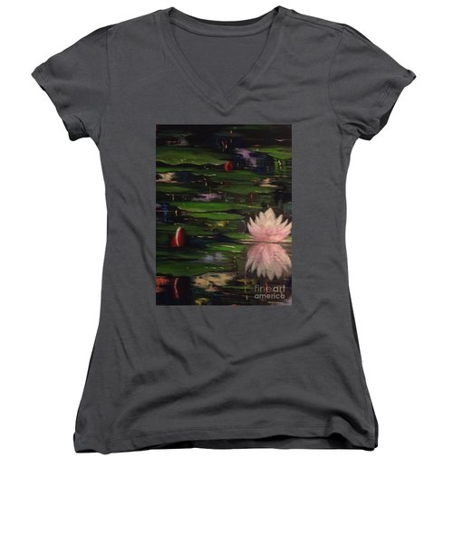 Women's V-Neck T-Shirt (Junior Cut) featuring the painting Waterlilies - Original Sold by Therese Alcorn