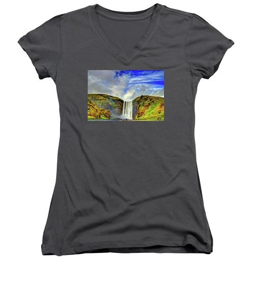 Women's V-Neck T-Shirt (Junior Cut) featuring the photograph Watermall And Mist by Scott Mahon