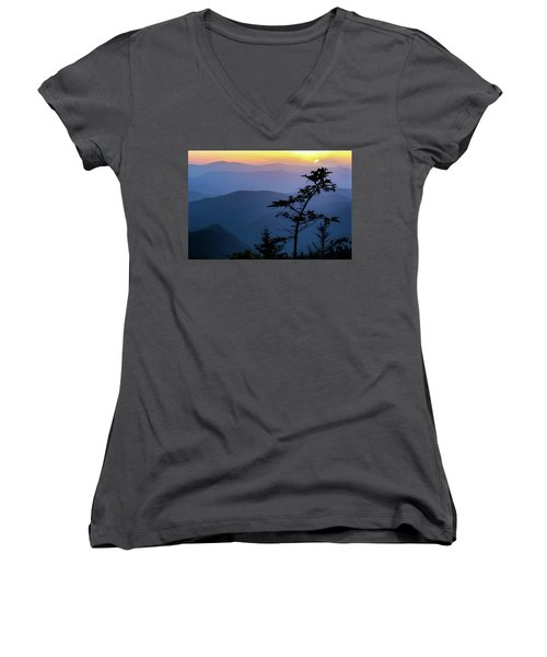 Waterrock Blues Women's V-Neck T-Shirt (Junior Cut) by Deborah Scannell