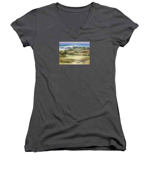 Water's Edge Women's V-Neck T-Shirt (Junior Cut) by Glory Wood