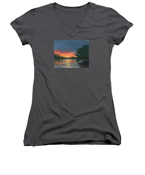 Waterway Sundown Women's V-Neck T-Shirt (Junior Cut) by Kathleen McDermott