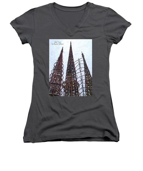 Women's V-Neck T-Shirt (Junior Cut) featuring the photograph Watts Towers 2 - Los Angeles by Glenn McCarthy Art and Photography