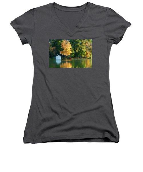 Waupaca Chain Boathouse Women's V-Neck T-Shirt (Junior Cut) by Trey Foerster
