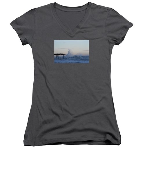Wave Towers Over Oc Fishing Pier Women's V-Neck T-Shirt (Junior Cut) by Robert Banach