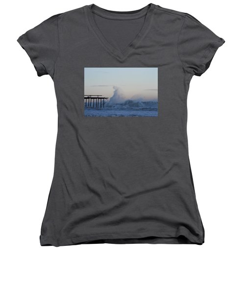 Wave Towers Over Oc Fishing Pier Women's V-Neck