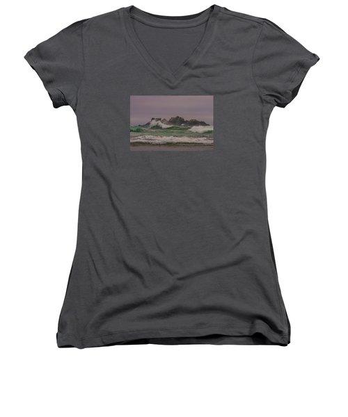 Waves 1 Women's V-Neck T-Shirt (Junior Cut) by Ulrich Burkhalter