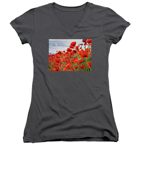 Waving Red Poppies Women's V-Neck T-Shirt