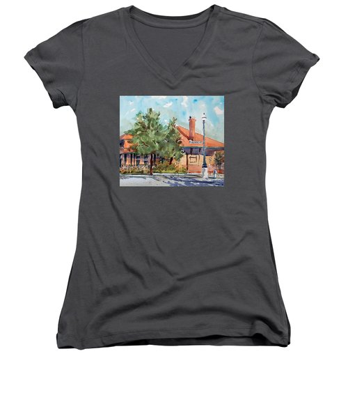Waxachie Train Station Women's V-Neck T-Shirt (Junior Cut) by Ron Stephens
