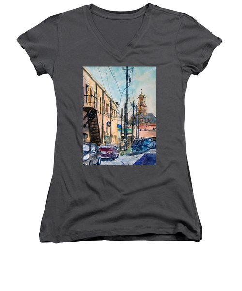 Waxahachie Back Alley Women's V-Neck T-Shirt (Junior Cut) by Ron Stephens