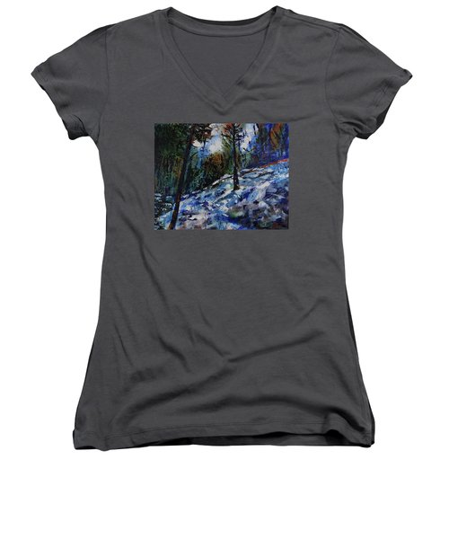 Women's V-Neck T-Shirt featuring the painting Way Of The Mono Trail by Walter Fahmy