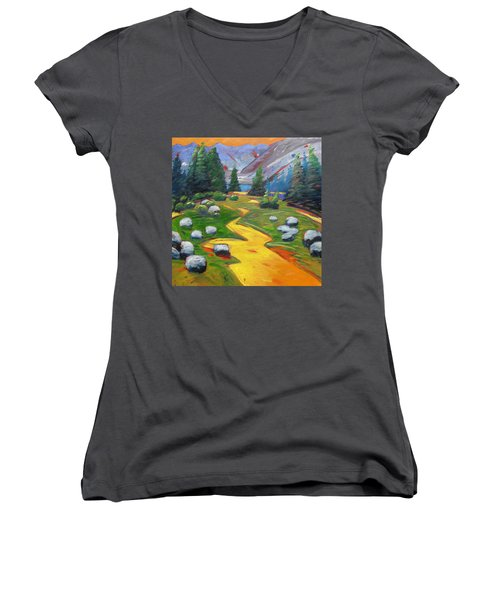 Way To The Lake Women's V-Neck T-Shirt (Junior Cut) by Gary Coleman