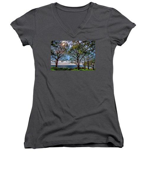 Women's V-Neck T-Shirt (Junior Cut) featuring the photograph Wayfarer's  Ocean View by Joseph Hollingsworth