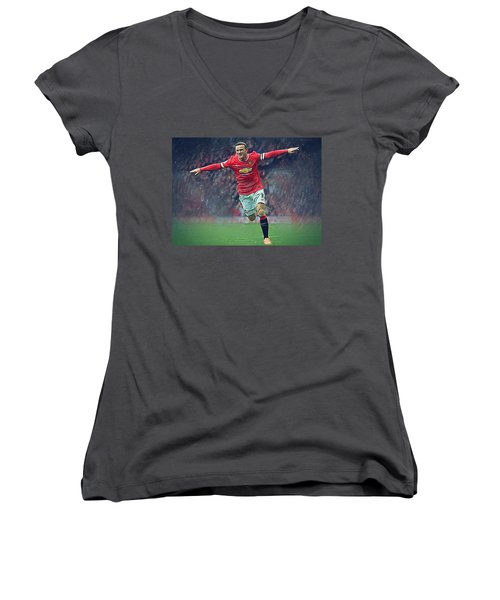 Wayne Rooney Women's V-Neck T-Shirt (Junior Cut) by Semih Yurdabak