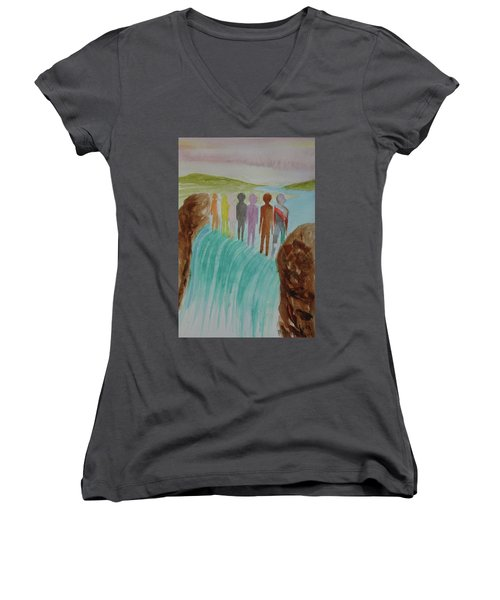 We Are All The Same 1.2 Women's V-Neck T-Shirt (Junior Cut) by Tim Mullaney