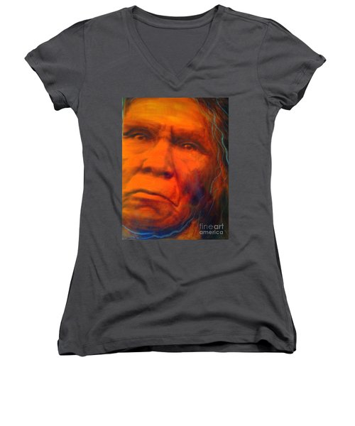 Women's V-Neck T-Shirt (Junior Cut) featuring the painting We Are First Nation by FeatherStone Studio Julie A Miller