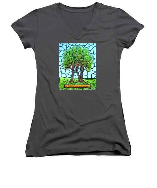Women's V-Neck T-Shirt (Junior Cut) featuring the painting We Grow Closer As We Grow Older by Jim Harris