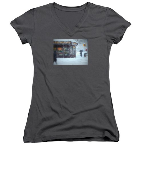 We Sell Flowers - Winter In New York Women's V-Neck (Athletic Fit)