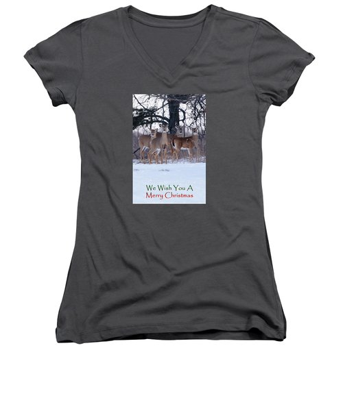 Women's V-Neck T-Shirt (Junior Cut) featuring the photograph We Wish You A Merry Christmas by Gary Hall