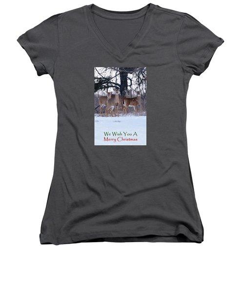 We Wish You A Merry Christmas Women's V-Neck T-Shirt (Junior Cut) by Gary Hall