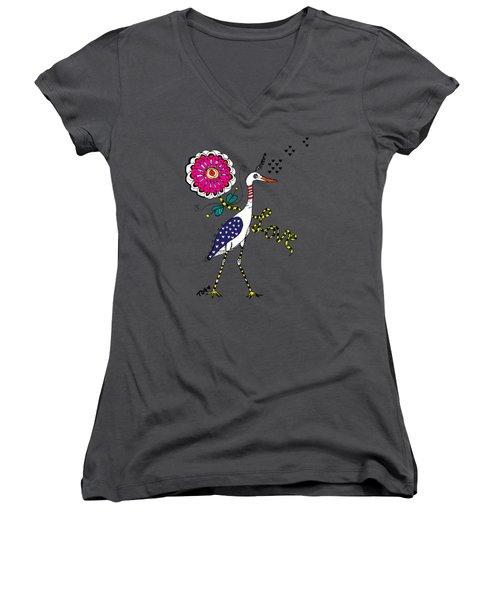 Weak Coffee Lovebird Women's V-Neck T-Shirt (Junior Cut) by Tara Griffin