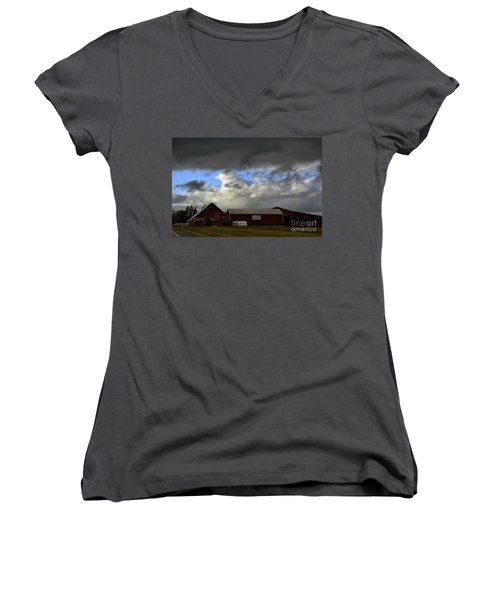 Weather Threatening The Farm Women's V-Neck