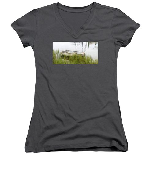 Weathered Old Skiff - The Outer Banks Of North Carolina Women's V-Neck (Athletic Fit)