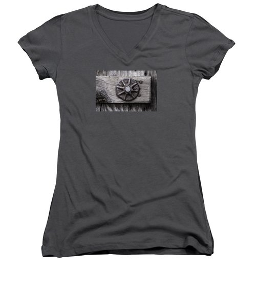 Weathered Wood And Metal One Women's V-Neck T-Shirt
