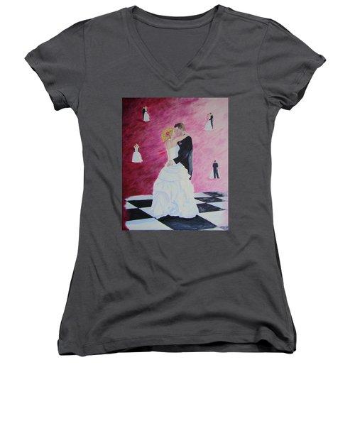 Wedding Dance Women's V-Neck T-Shirt (Junior Cut) by Lisa Rose Musselwhite