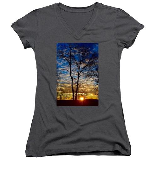 Weekend Sunrise In Minnesota Women's V-Neck T-Shirt (Junior Cut) by Dacia Doroff