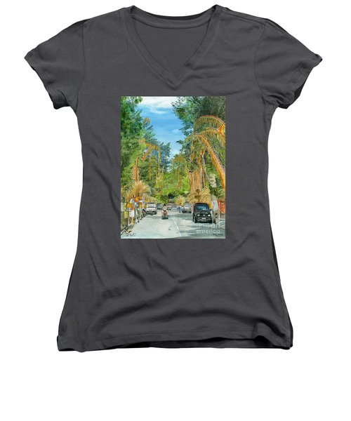 Women's V-Neck T-Shirt (Junior Cut) featuring the painting Weeping Janur Bali Indonesia by Melly Terpening