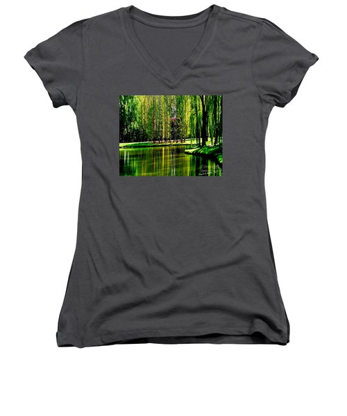 Weeping Willow Tree Reflective Moments Women's V-Neck T-Shirt (Junior Cut) by Carol F Austin