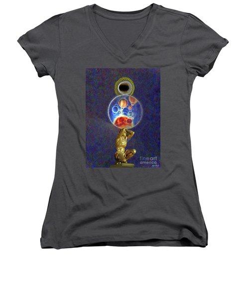 Weight Of The World Women's V-Neck T-Shirt (Junior Cut) by Lyric Lucas