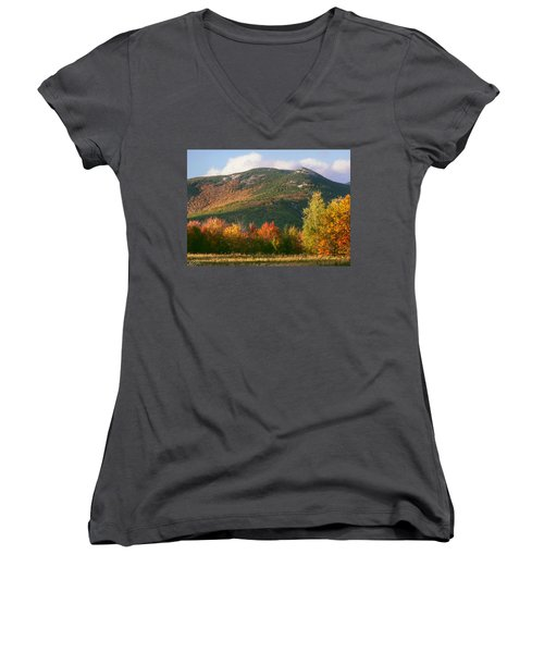Welch And Dickey Mountains Women's V-Neck T-Shirt (Junior Cut) by Nancy Griswold