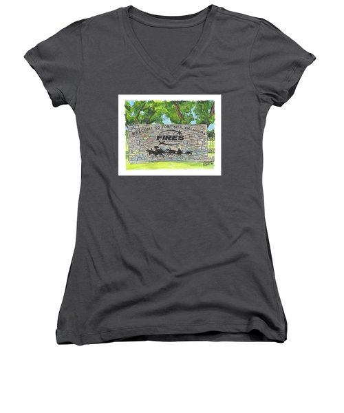 Welcome Sign Fort Sill Women's V-Neck (Athletic Fit)
