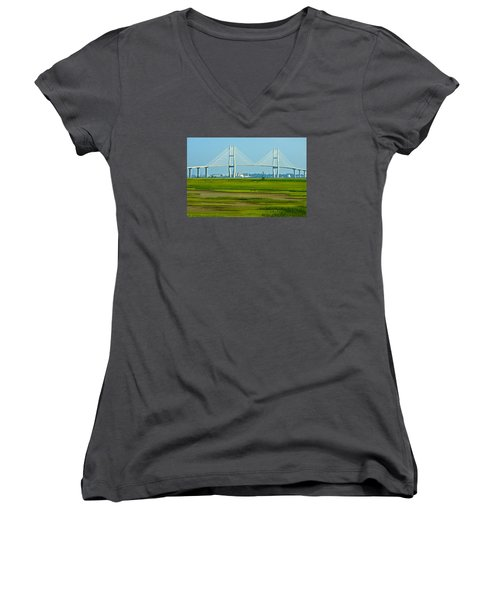 Women's V-Neck T-Shirt (Junior Cut) featuring the photograph Welcome To Brunswick by Laura Ragland