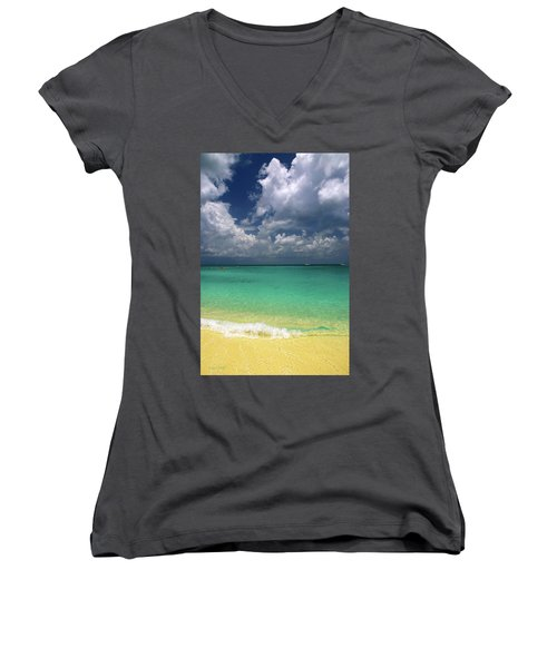 Welcome To Paradise Women's V-Neck T-Shirt (Junior Cut) by Marie Hicks