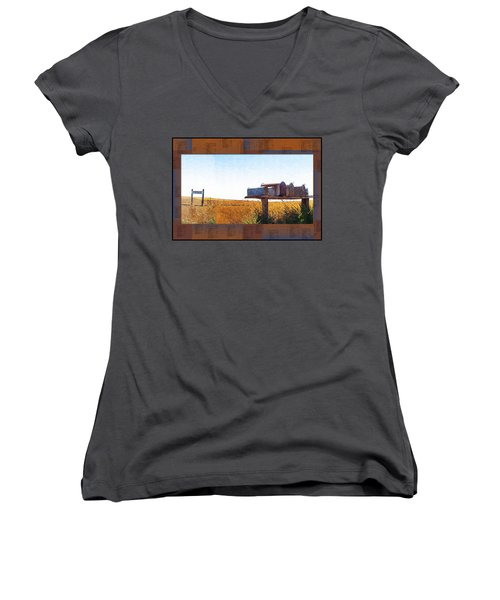 Women's V-Neck T-Shirt (Junior Cut) featuring the photograph Welcome To Portage Population-6 by Susan Kinney