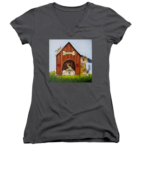 Welcome To The Doghouse Women's V-Neck (Athletic Fit)