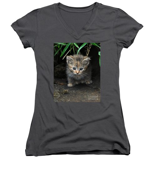 Welcome To The Jungle Women's V-Neck T-Shirt (Junior Cut) by Eric Liller