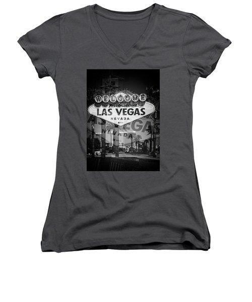 Welcome To Vegas Xiv Women's V-Neck T-Shirt (Junior Cut)