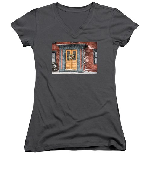Welcome Women's V-Neck T-Shirt (Junior Cut) by Tricia Marchlik